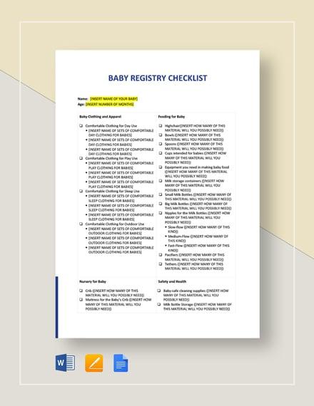 Baby Registry Checklist Template