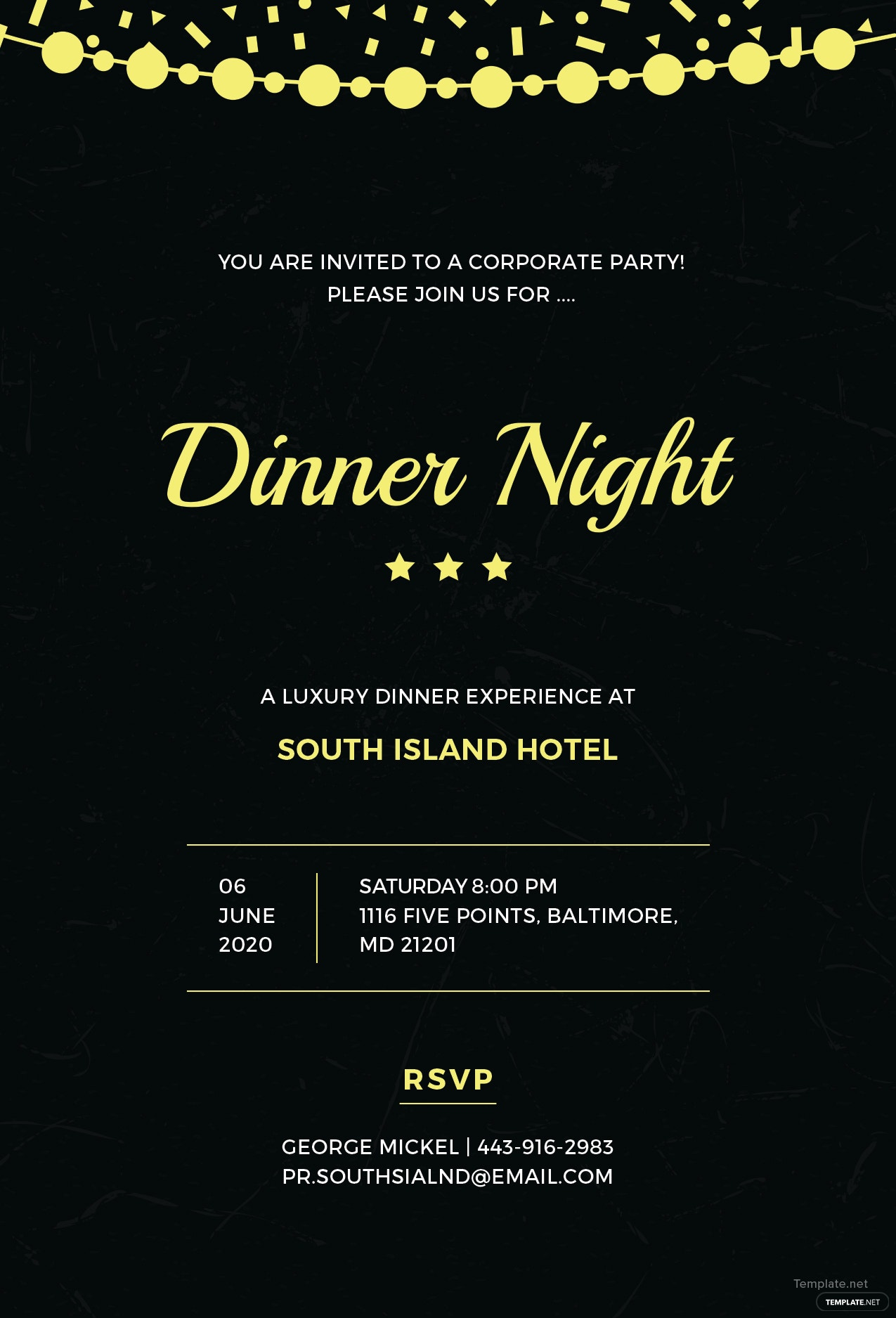 free company dinner night invitation template in adobe