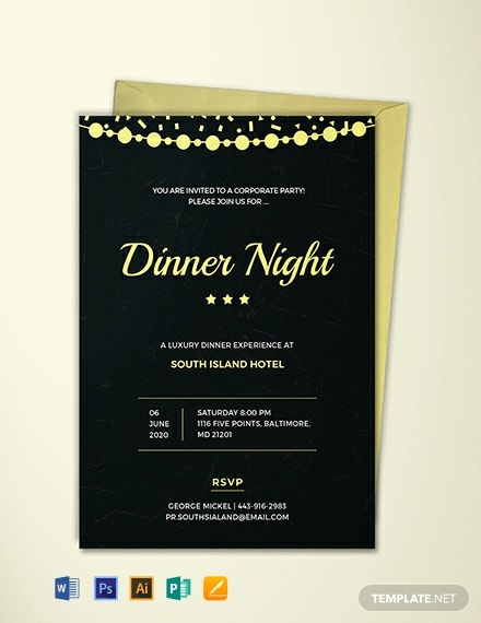 Free Company Dinner Night Invitation Template