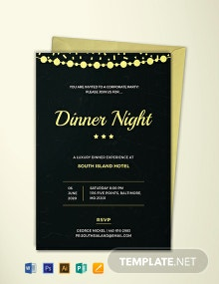 Free Company Dinner Night Invitation Template