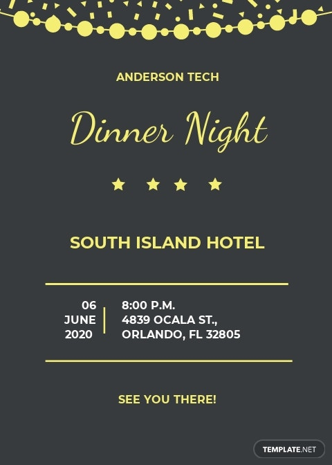 Company Dinner Night Invitation Template