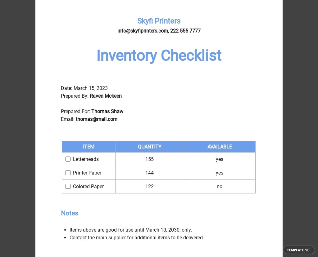 Inventory Checklist Template