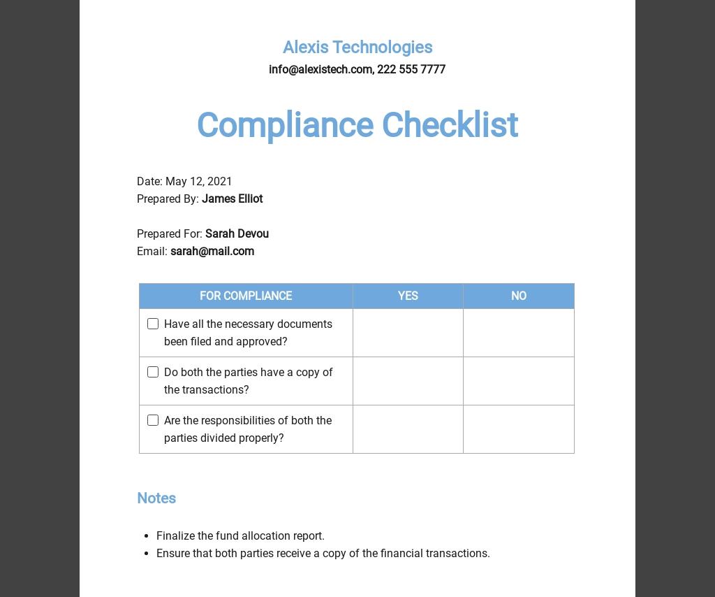 Compliance Checklist Template