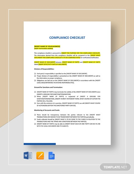 compliance checklist template