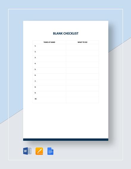Blank Checklist Template