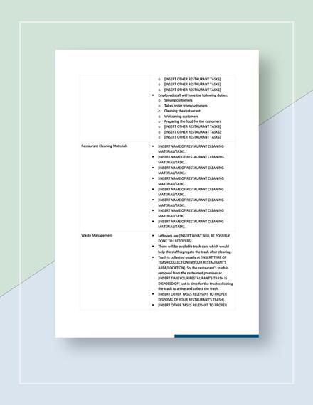 Restaurant Checklist Download