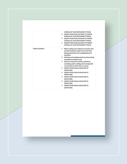 Sample Restaurant Checklist