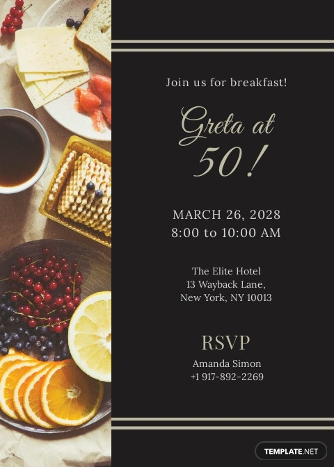 Formal Invitation for Breakfast Template