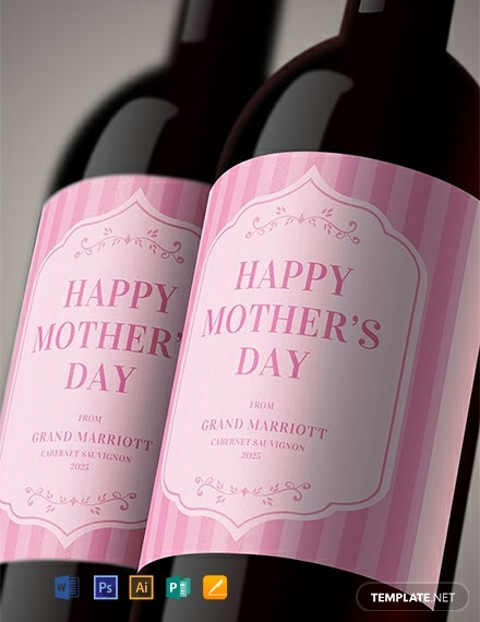 Free Mothers Day Wine Label Template