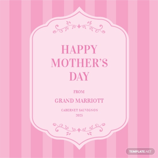 Mother's Day Wine Label Template