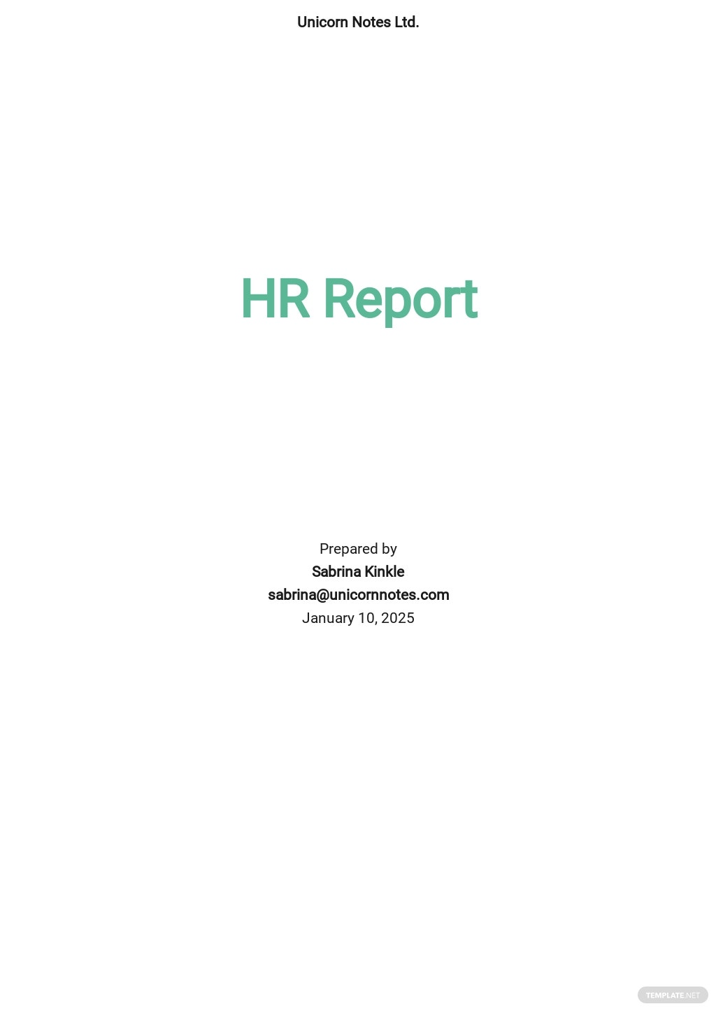HR Report Template