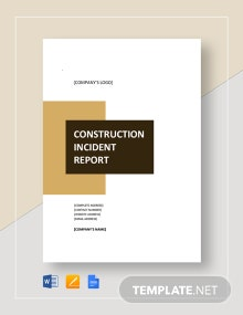 Simple Construction Incident Report Template