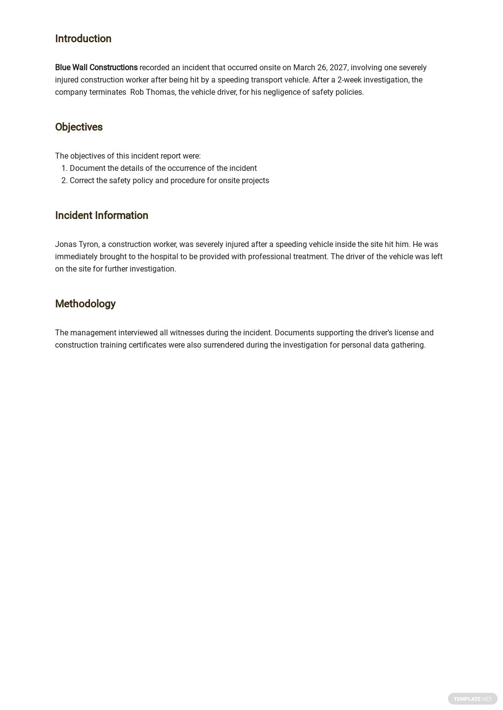 Simple Construction Incident Report Template [Free PDF] - Google Docs, Word