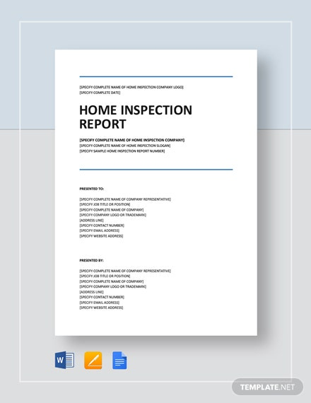 Home Inspection Report Template