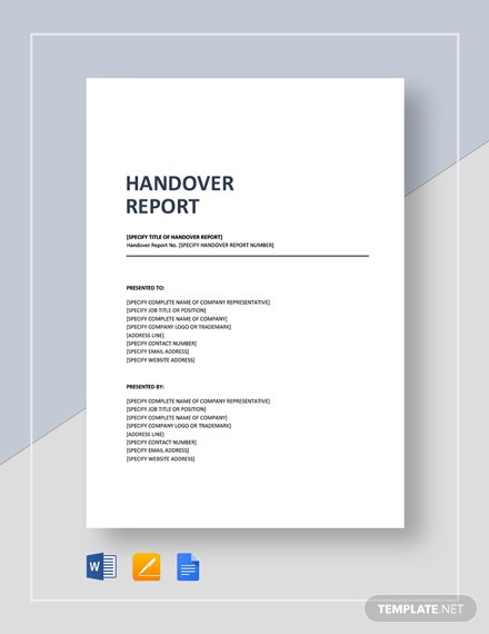 30 Handover Report Templates Word Pdf Google Docs
