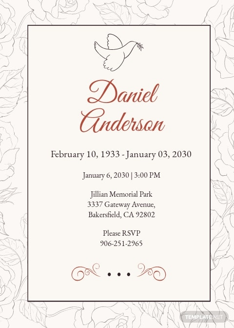 Simple Funeral Invitation Template [Free JPG] - Illustrator, InDesign, Word, Apple Pages, PSD, Publisher