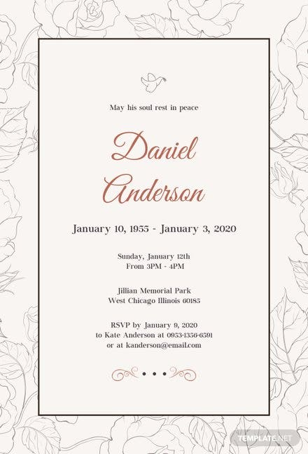 Free Simple Funeral Invitation Template | Free Templates