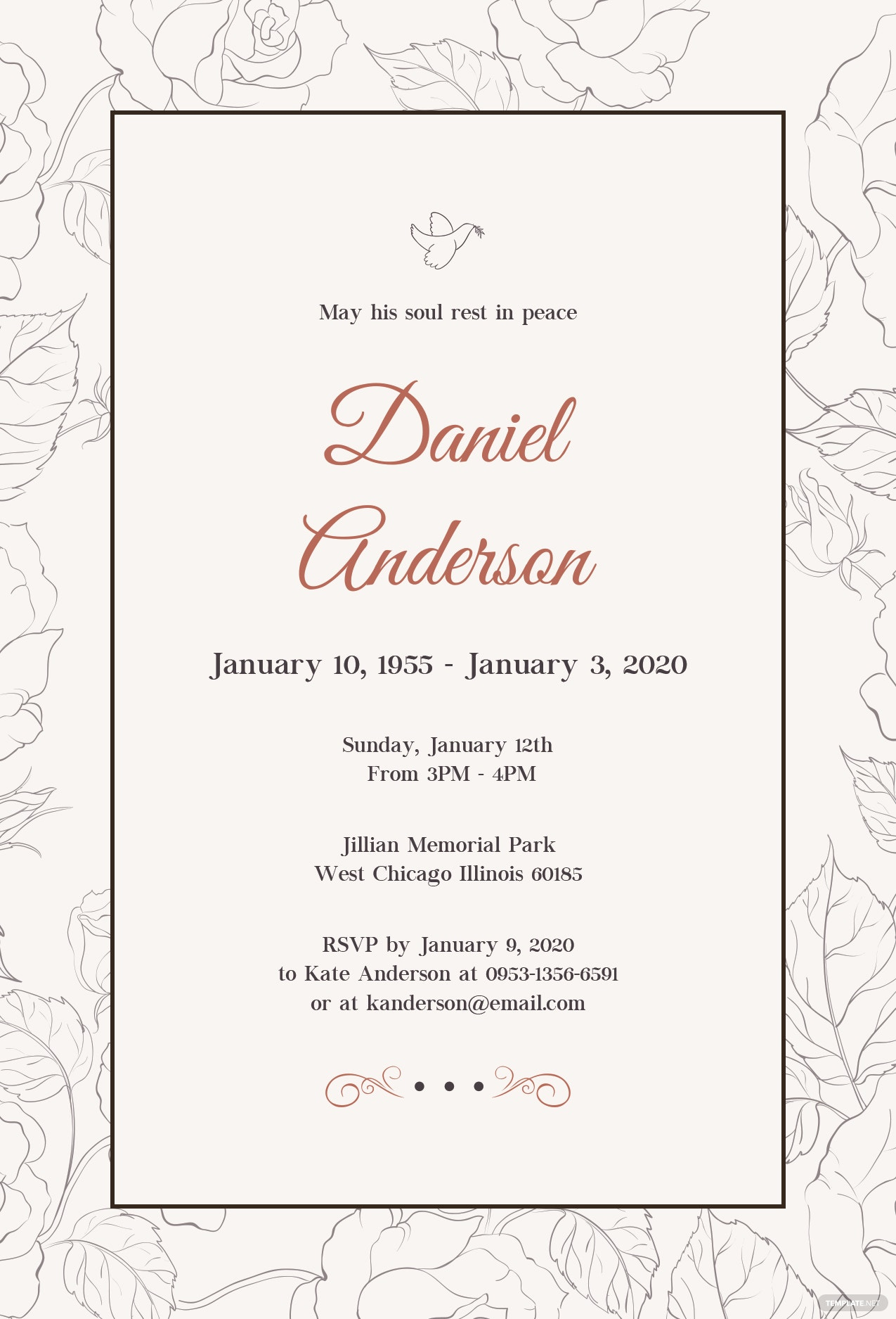 memorial celebration of life tree 425x55 paper funeral invitation ...