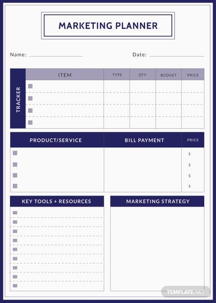 Free Marketing Planner Template