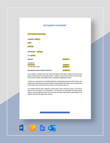 Settlement Statement Template