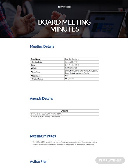 Board Meeting Minutes Example Template