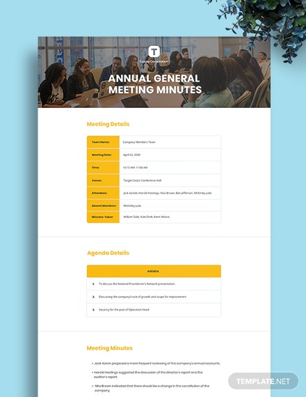 Annual General Meeting Minutes Template