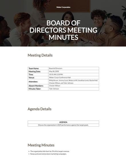 Editable Sample Board of Directors Meeting Minutes Template