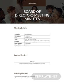 Sample Board of Directors Meeting Minutes Template