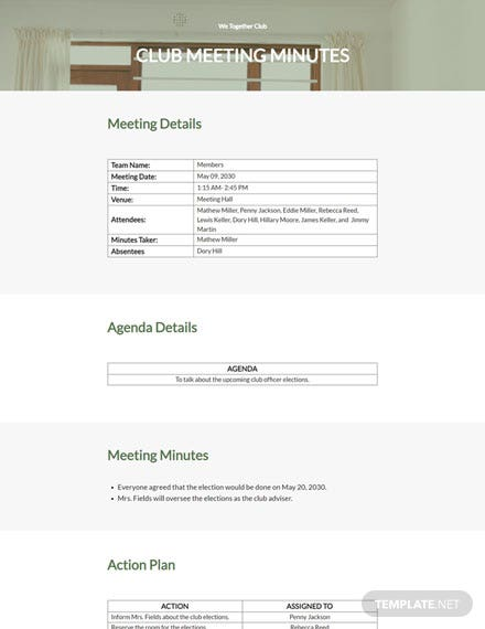 Editable Sample Club Meeting Minutes Template