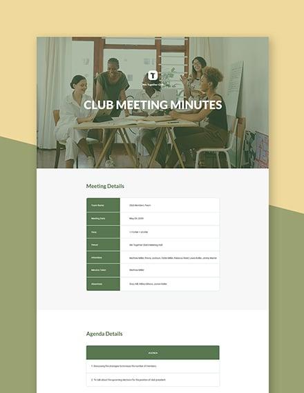 Sample Club Meeting Minutes Template