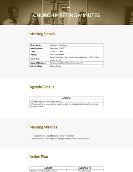 Editable Church Meeting Minutes Template