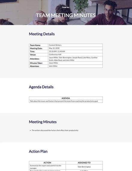 Editable Sample Team Meeting Minutes Template