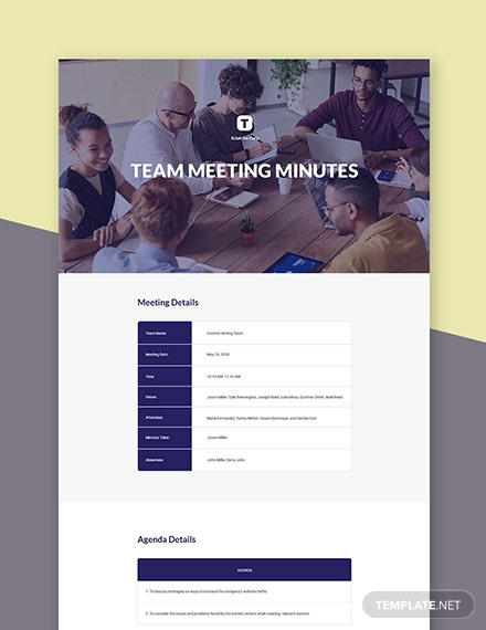 Sample Team Meeting Minutes Template