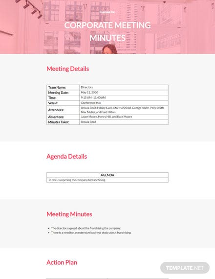 Editable Sample Corporate Meeting Minutes Template