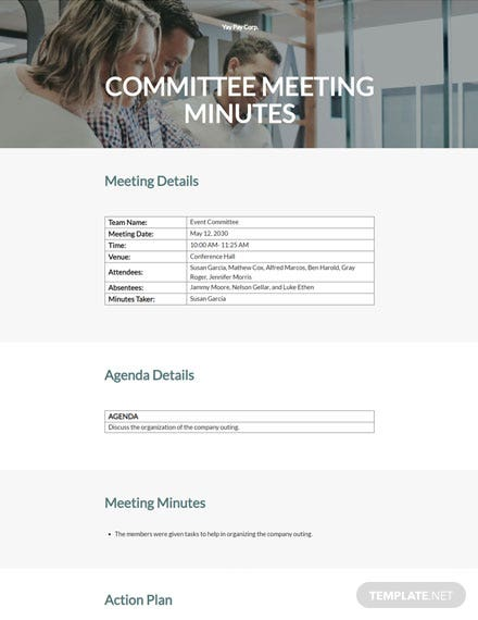 Editable Sample Committee Meeting Minutes Template