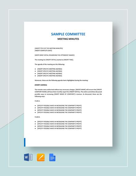 Sample Committee Meeting Minutes Template