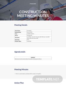 Sample Construction Meeting Minutes Template
