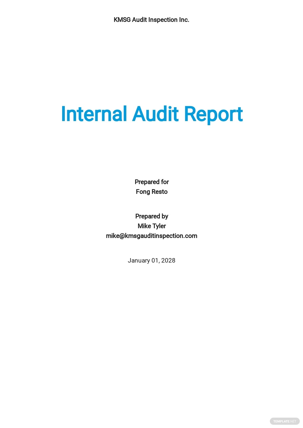 Internal Audit Report Template