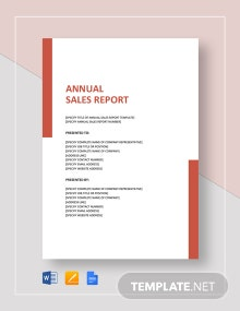 Annual Sales Report Sample Template
