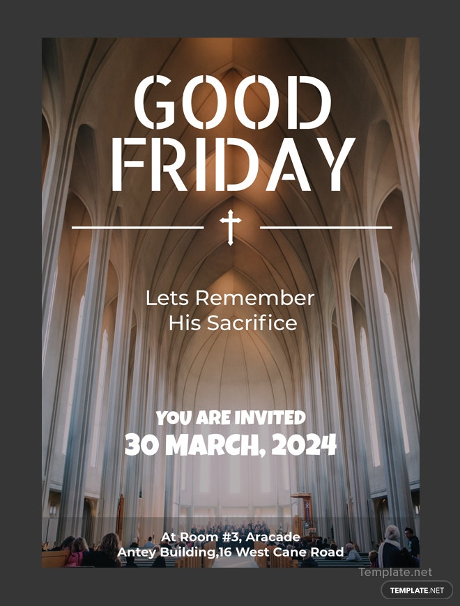 free good friday invitation template in adobe photoshop