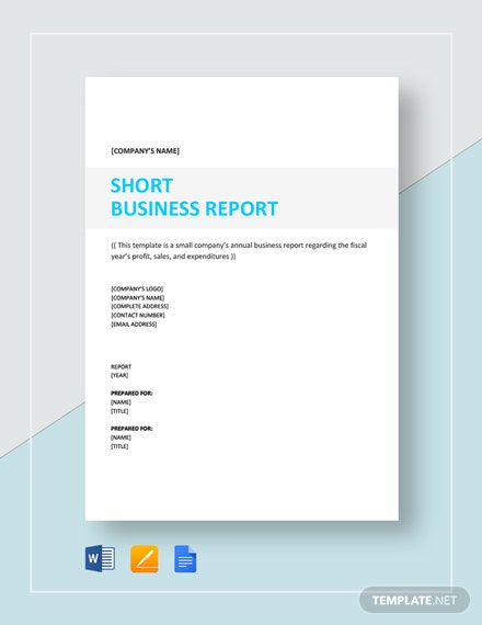 Short Business Report  Sample Template