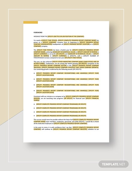 Progress Report Download