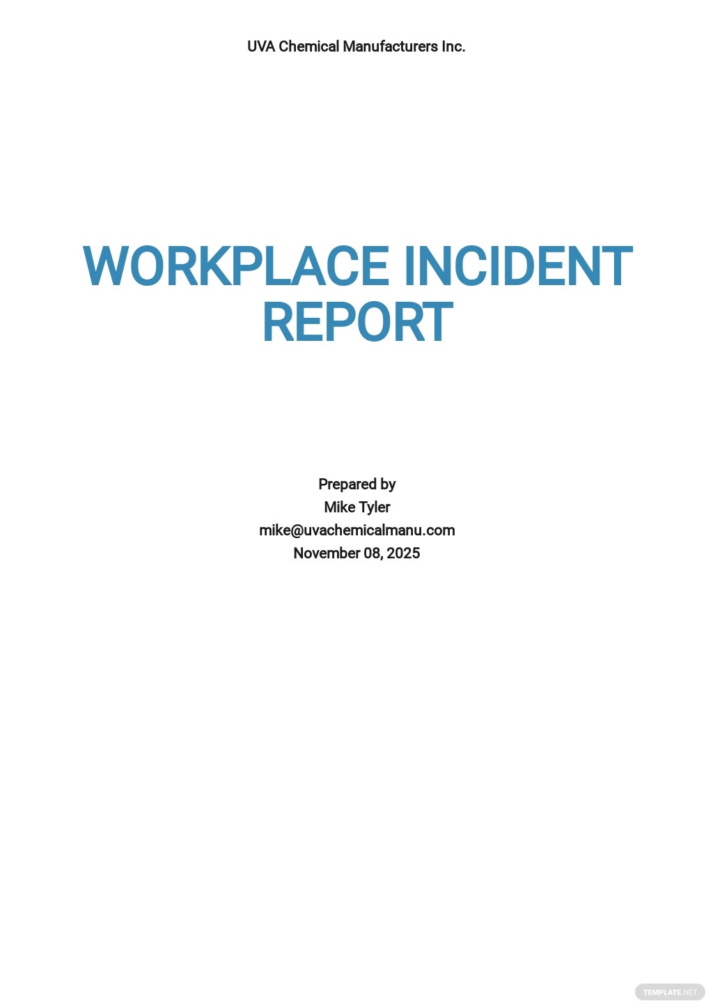 Workplace Incident Report Template