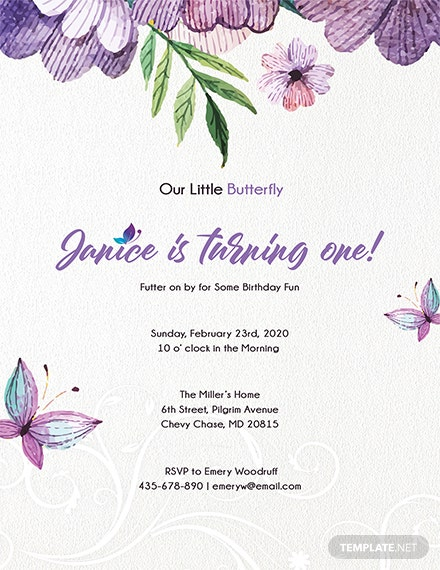 Free Editable Butterfly Invitation Template