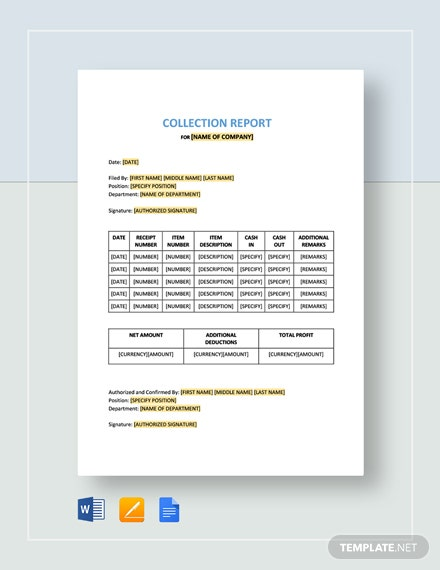 Collection Report Template