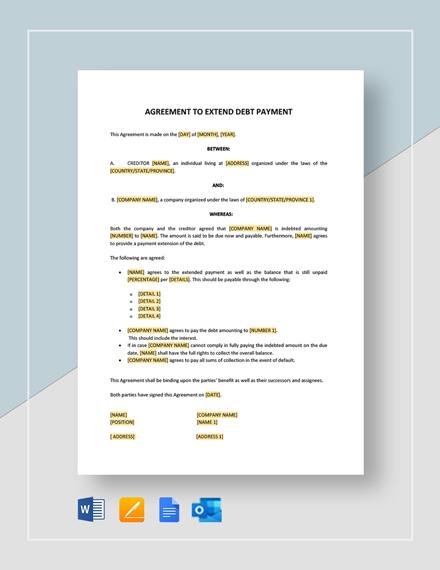 Agreement to Extend Debt Payment