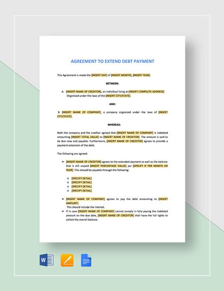 Agreement to Extend Debt Payment Template