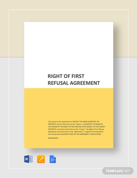 Right of First Refusal Agreement Template
