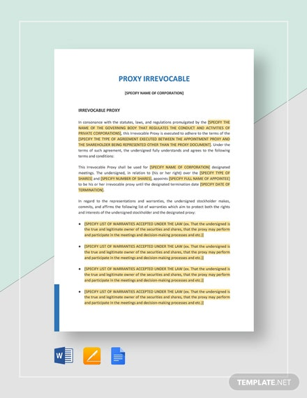 Proxy Irrevocable Template