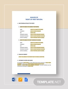 Waiver of the Right of First Refusal Template
